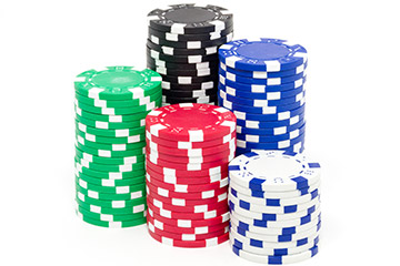 Poker chips, like those used in a casino